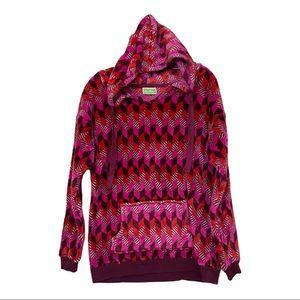 Vera Bradley Sz Sm Geometric Pink Fleece Hoodie